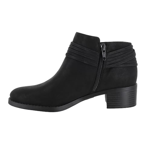 Easy Street Womens Wylie Leather Round Toe Ankle Fashion Boots