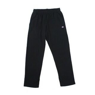 Champion NEW Black Mens Size Large L Open Bottom Track & Sweat Pants