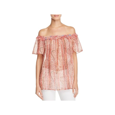 French Connection Womens Malika Casual Top Sheer Off The Shoulder