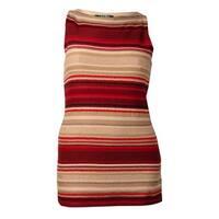 Lauren Ralph Lauren Women's Sleeveless Knit Striped Sweater - Red Multi
