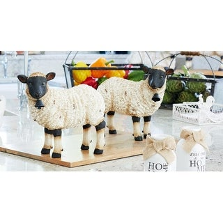 Set of 4 Black and White Distressed Rustic Farm Sheep Tabletop Figures 10.5