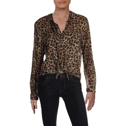 Bella Dahl Womens Button-Down Top Collared Tie-Front - Leopard