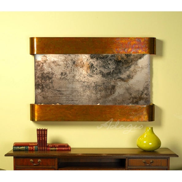 Adagio Sunrise Springs With Green Natural Slate in Rustic Copper Finish and Roun