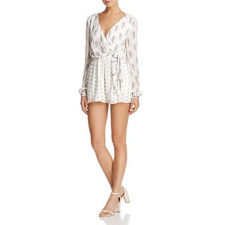 TJD Womens Romper Printed Tie-Front