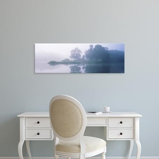 Easy Art Prints Panoramic Image 'Reflection of trees in the foggy lake, Kinmundy Lake, Marion, Illinois' Canvas Art