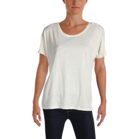 d471a7442 Lauren Ralph Lauren Womens Atshar Knit Top Heathered Lace-Up
