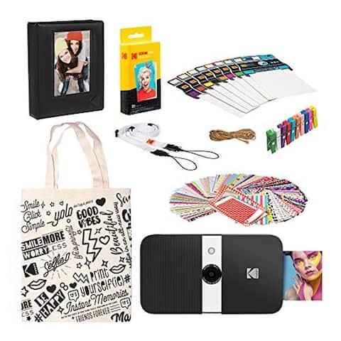 KODAK Smile Instant Print Digital Camera (Black/ White) Starter Kit