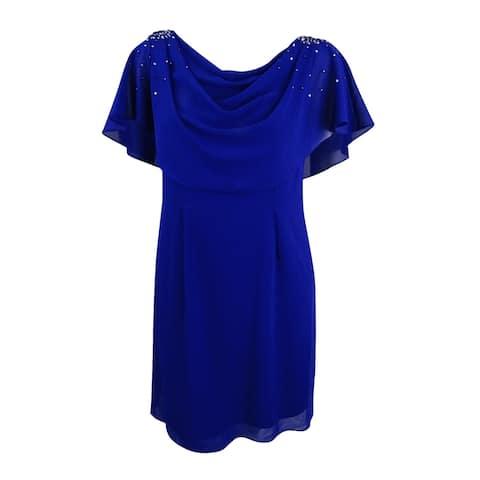 Jessica Howard Women's Draped Capelet Dress (6, Cobalt) - Cobalt - 6