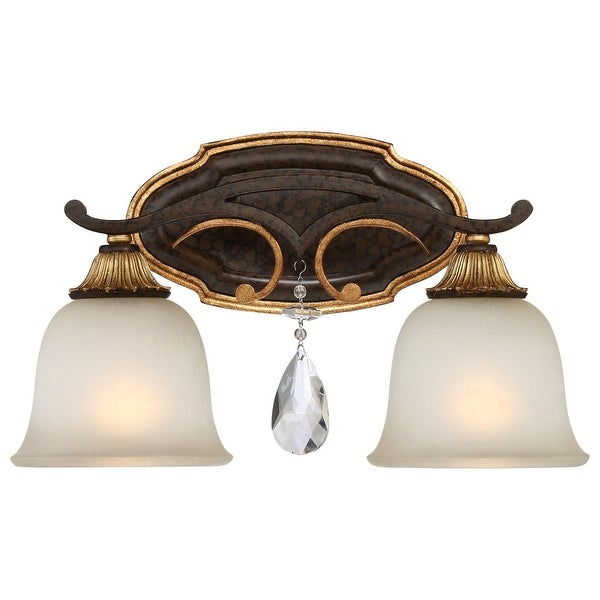 """Metropolitan N1462-652 2 Light 16"""" Wide Bathroom Vanity Light with Driftwood Glass Shades and Crystal Accents from the Chateau"""