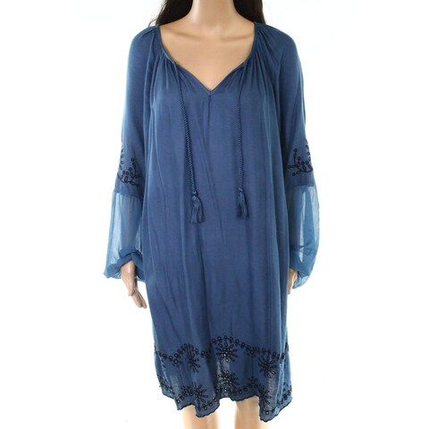 Jessica Simpson Blue Womens Size 2X Plus Split-Neck Shift Dress