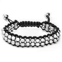Men's Stainless Steel Beaded Adjustable Tie Closure Cord Bracelet (9 mm) - 7.5 in