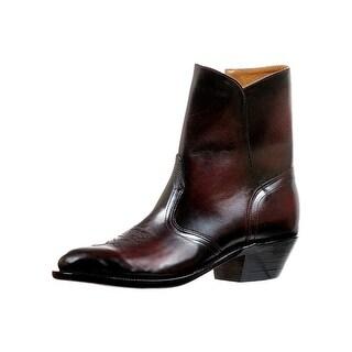 Boulet Western Boots Mens Ankle Dress Side Zipper Palermo Black 6241