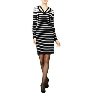 NY Collection Womens Casual Dress Striped Cut-Out - m