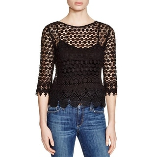 VELVET BY GRAHAM & SPENCER Womens Pullover Top Lace Elbow Sleeves