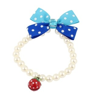 Unique Bargains Faux Crystal Decor Plastic Beads Stretchy Collar Necklace White S for Pet Dog