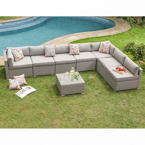 COSIEST 8-Piece Gray Wicker Outdoor Furniture Set w/ cushions. Opens flyout.