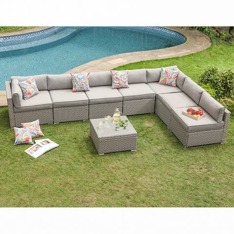 COSIEST 8-Piece Gray Wicker Outdoor Furniture Set w/ cushions