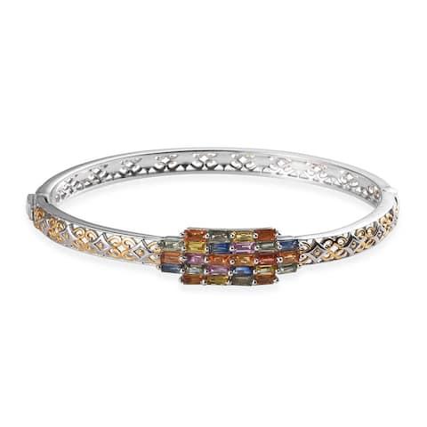 "925 Sterling Silver Multi Sapphire Bangle Cuff Bracelet Size 8"" ct 4 - Size 8''"
