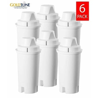 GoldTone Activated Charcoal Water Filters for BRITA and MAVEA Water Pitchers - Replacement Jug Water Pitcher Filter - (6 Pack)
