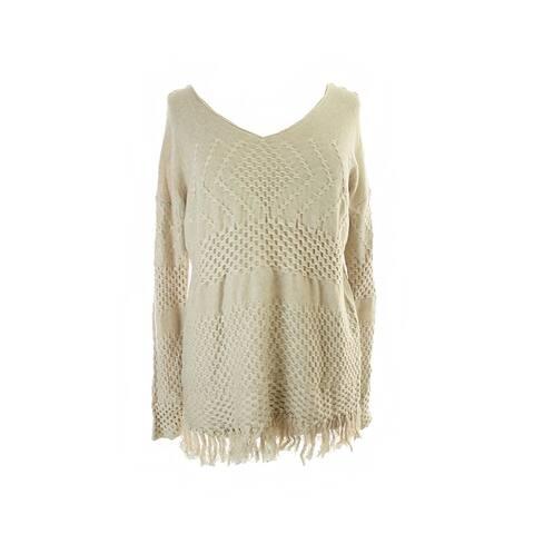 Studio M Beige Textured Fringe Sweater XL