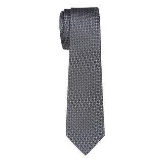 YSL Yves Saint Laurent Silk Diamond Print Tie Silver Necktie Made In France