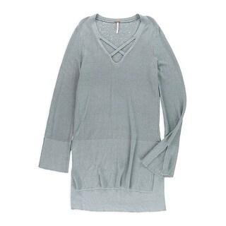 Free People NEW Blue Women's Size Medium M Criss Cross Tunic Sweater