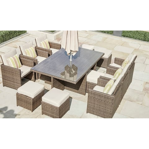 Martinka Wicker Outdoor 11-piece Patio Dining Set
