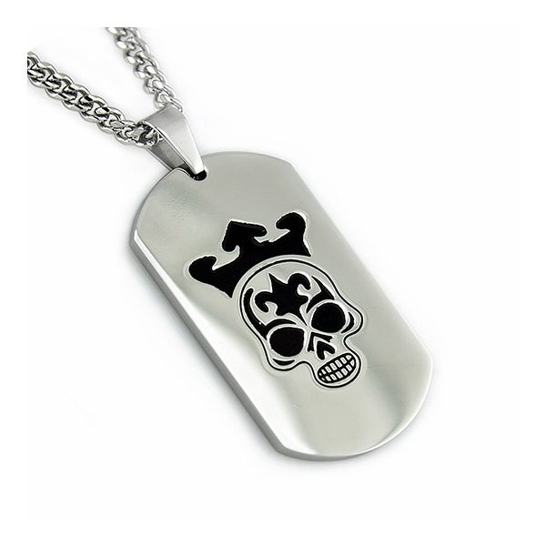 Stainless Steel Men's Dog Tag Pendant - 24 inches