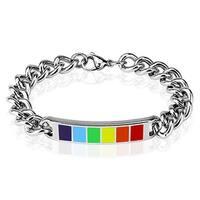 Rainbow Enamel Plate 316L Stainless Steel Chain Bracelet (9 mm) - 8.25 in