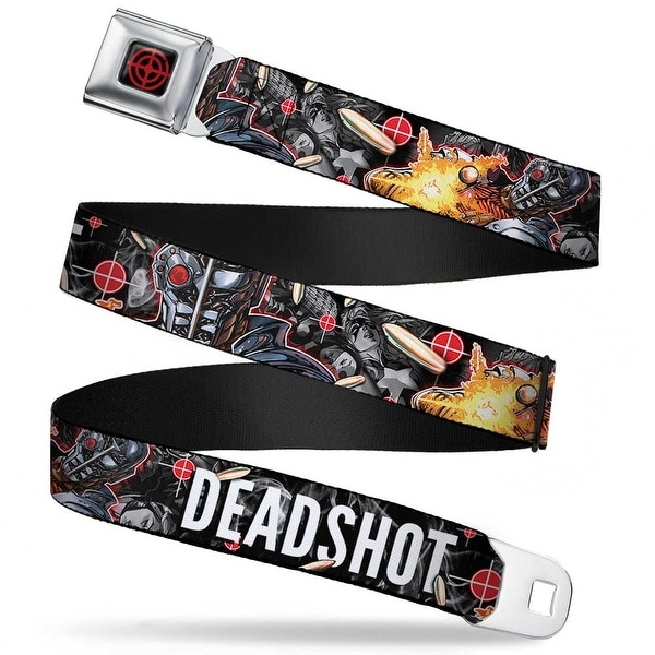 Suicide Squad Target Full Color Black Red Deadshot Face Pose Targets Seatbelt Belt