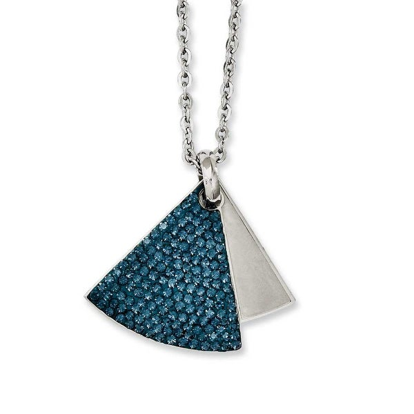 Chisel Stainless Steel Blue Crystal & Brushed Triangles Necklace (2 mm) - 20 in