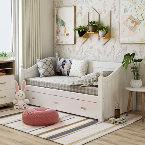 Furniture of America Hove Cottage Twin Solid Wood Daybed with Trundle