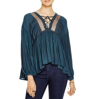 Free People Womens Don't Let Go Peasant Top Boho Embroidered