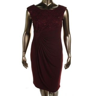 Connected Apparel Womens Lace Overlay Pleated Cocktail Dress