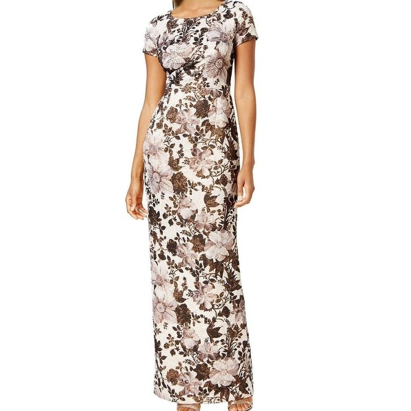 a6060e6b Shop Adrianna Papell NEW Beige Pink Womens 12 Metallic Floral Sheath Dress  - Free Shipping Today - Overstock - 18619250