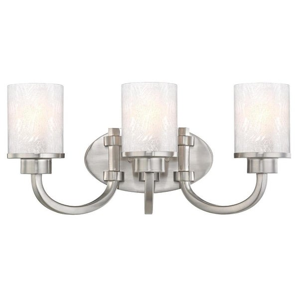 """Westinghouse 6308100 Ramsgate 20"""" Wide 3 Light Bathroom Vanity Light with Glass Shades - Brushed nickel"""