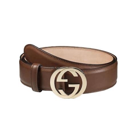 Gucci Interlocking G Buckle Brown Leather Belt 370543 90/36