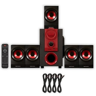 Theater Solutions TS521 Home Theater 5.1 Speaker System Powered and 4 Extension Cables