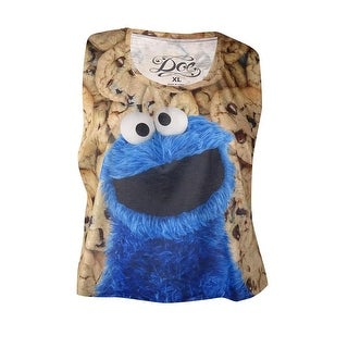Might Fine Juniors' Cookie Monster Graphic Tank (XL, Multi)