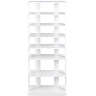 7 Tiers Big Shoe Rack Wooden Shoes Storage Stand - White
