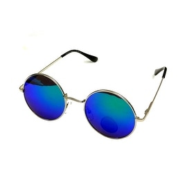 John Lennon Sunglasses Round Frame, Mirrored Green Blue Lens