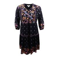 Style & Co. Women's Plus Size Mixed-Print Peasant Dress - Black Harvest