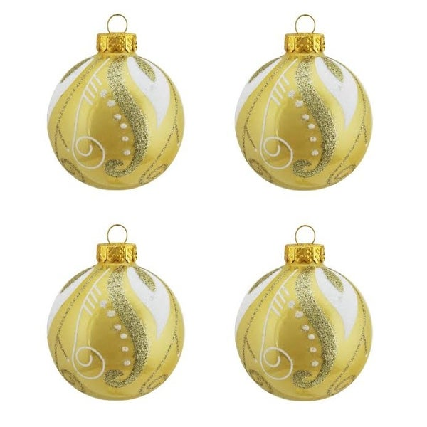 "4ct Pearl Yellow Gold with Glitter Swirl & Leaf Design Glass Ball Christmas Ornaments 2.5"" (65mm)"