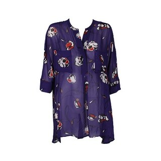 Anne Klein African Violet Long-Sleeve Printed Sheer High-Low Tunic XL