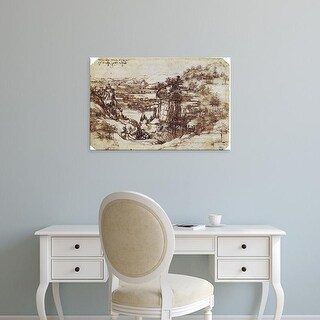 Easy Art Prints Leonardo da Vinci's 'Study of a Tuscan Landscape' Premium Canvas Art