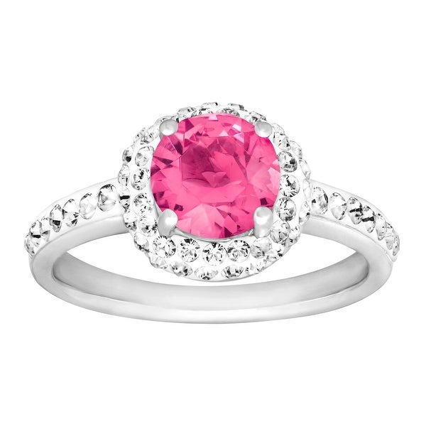 Crystaluxe October Ring with a Pink Swarovski Elements Crystals in Sterling Silver