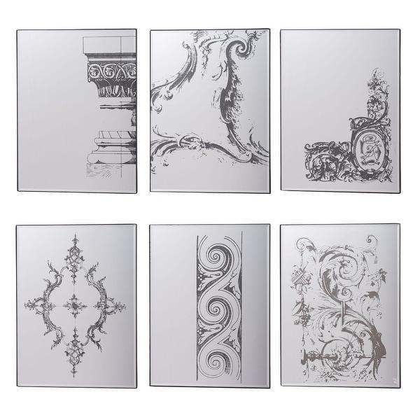 "Set of 6 Black Antique Style Framed Rectangular Design Glass Mirror 20.25"" - N/A"