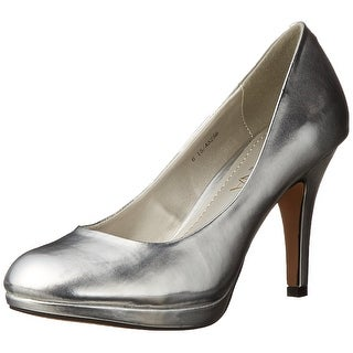 Amiana NEW Silver Shoes Size 7M Platform Pumps Leather Heels