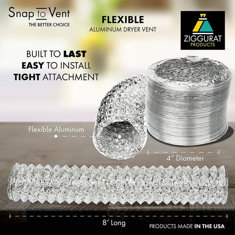 Snap to Vent Flexible Aluminum Dryer Hose 4 in. dia. x 8 ft. long - Silver
