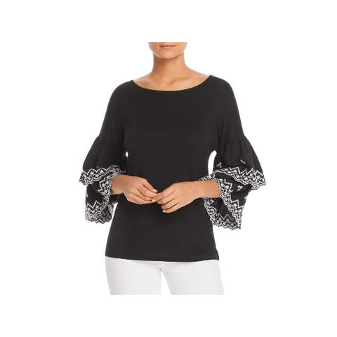 Design History Womens Pullover Top Embroidered Tiered